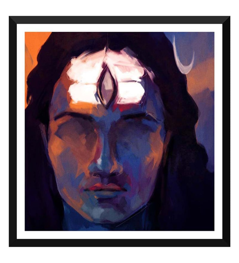 Paper 17 x 0.5 x 18 Inch Shiva Meditating Painting Framed Digital Poster by Tallenge