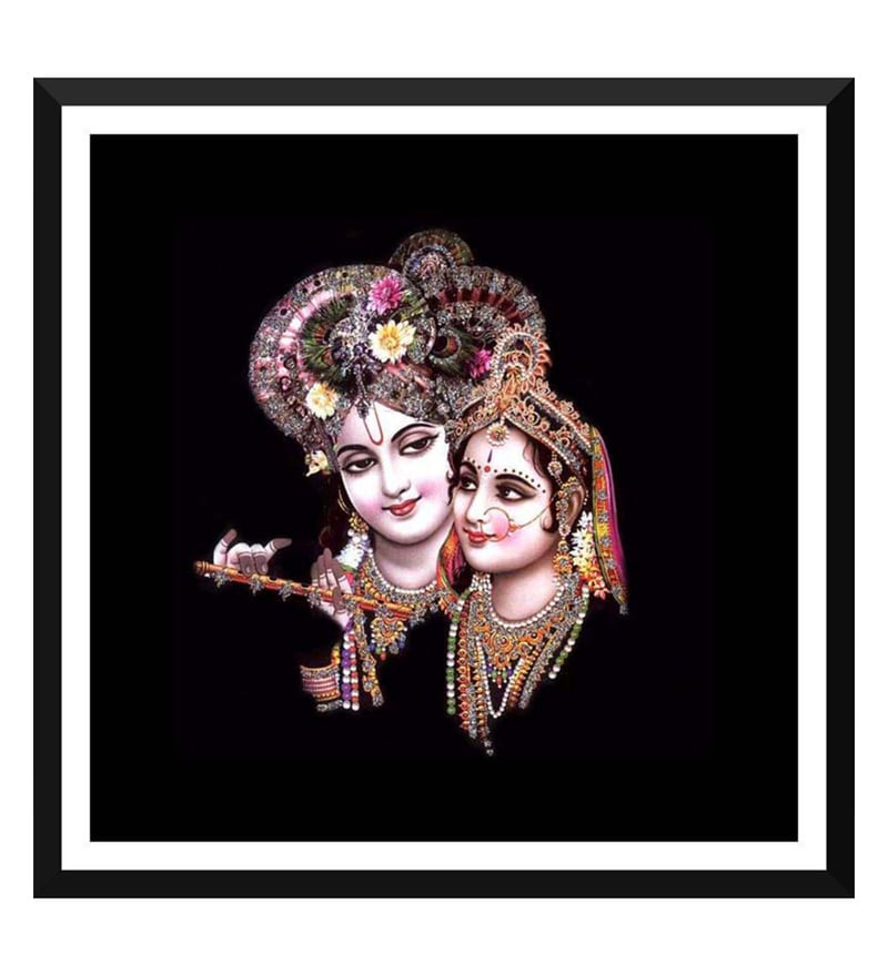 Paper 18 x 0.5 x 18 Inch Krishna Playing Flute with Radha Framed Digital Poster by Tallenge