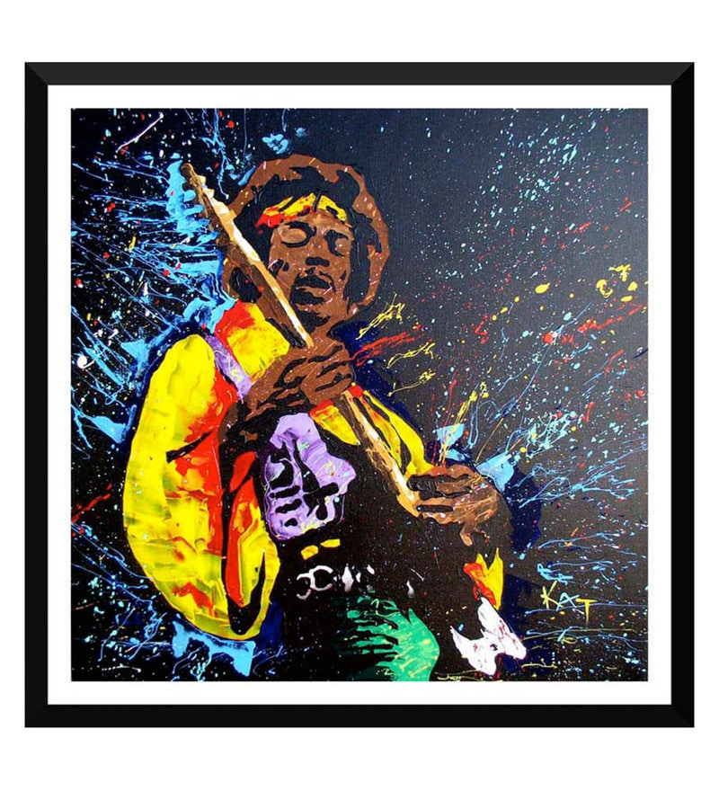 Paper 18 x 0.5 x 18 Inch The Spirit of Jimi Hendrix 2 Framed Digital Poster by Tallenge