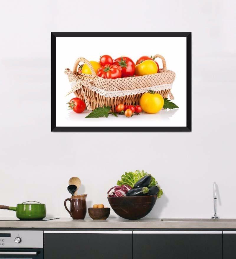 Photographic Paper 18 x 1 x 12 Inch Art For Kitchen Fresh Veggie Basket Framed Digital Art Print by Tallenge