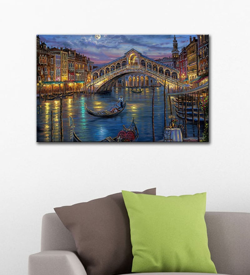 Canvas 15 x 24 Inch Painting of Romantic Gondola Ride At The Grand Canal In Venice Framed Canvas Art Print by Tallenge