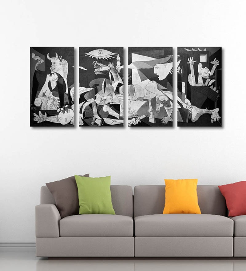 Vinyl 40 x 0.5 x 18 Inch Guernica by Pablo Picasso Premium Quality Ready to Hang Framed Art Panels - Set of 4 by Tallenge