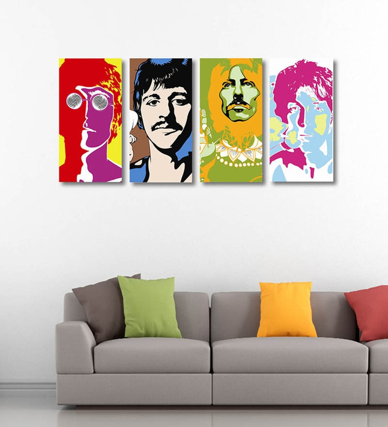 Vinyl 48 x 0.5 x 24 Inch Pop Art The Beatles Within You without You Premium Quality Ready to Hang Framed Art Panels - Set of 4 by Tallenge