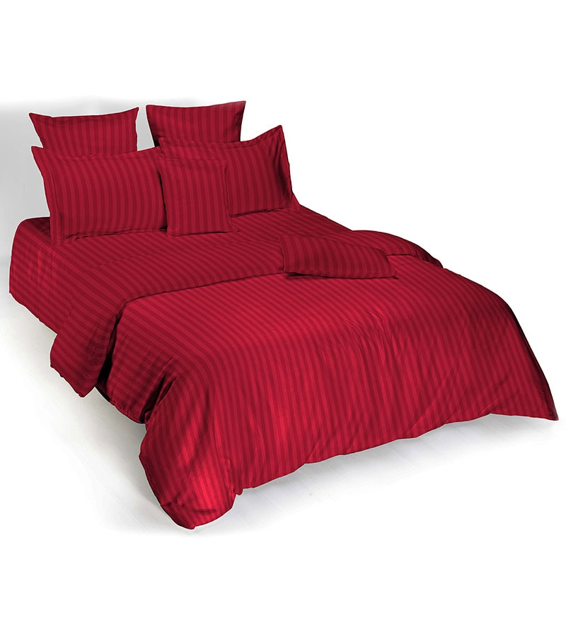 Stripe 5000015 Red Cotton King Bed Sheet Set by Tangerine