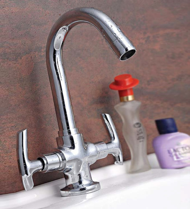 Taptree Oasis Silver Brass Centre Hole Basin Mixture