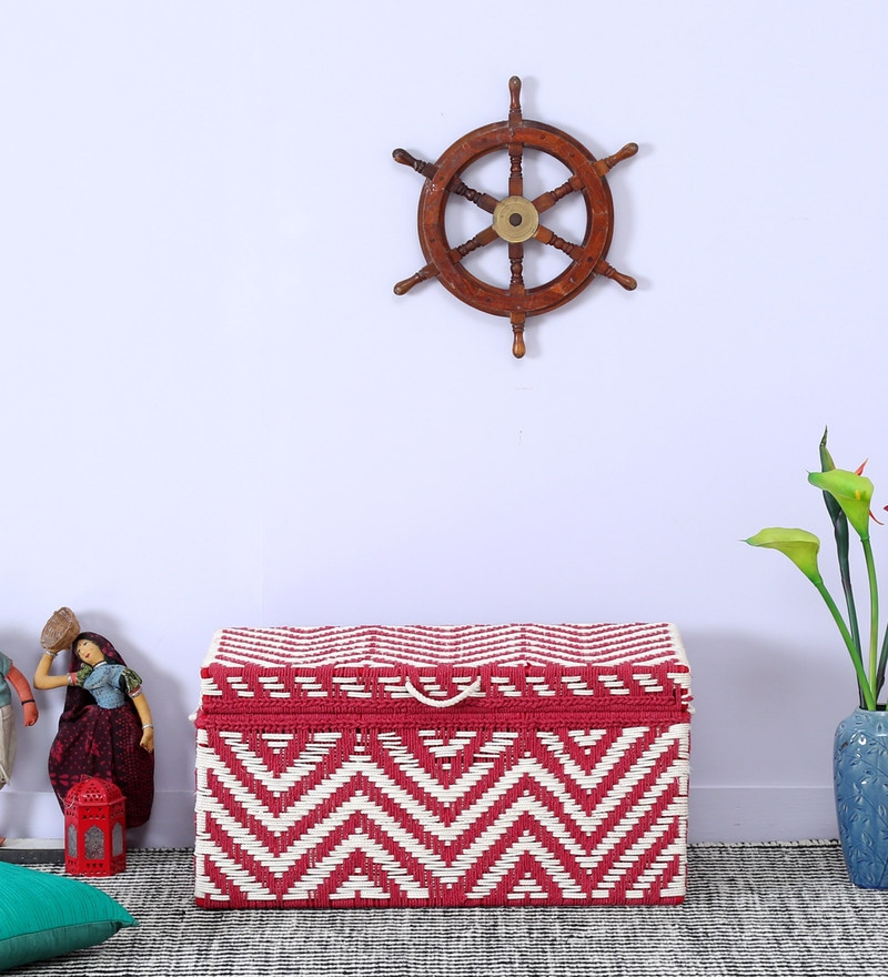 Tasarika Trunk with Weaving Work in Red and White Color  by Mudramark