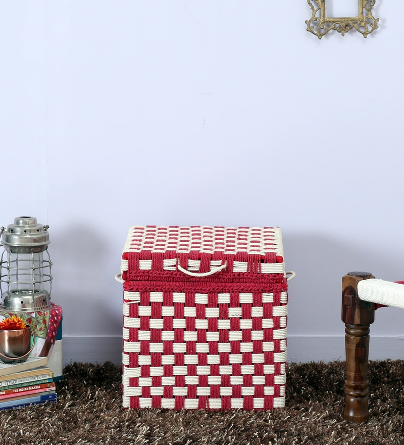 Tasarika Small Trunk with Weaving Work in Red and White Color  by Mudramark