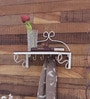 White Iron Designer Wall Shelf with Key Holder by Home Sparkle