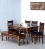 Taksh Handcrafted Six Seater Dining Set with Blue Upholstery by Mudramark
