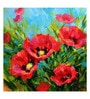 Canvas 43 x 1 x 43 Inch Oil Painting Poppies in Bloom Framed Large Digital Art Print by Tallenge
