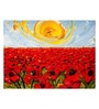 Canvas 58 x 1 x 43 Inch Warm Sunshine on A Field of Flowers Framed Large Digital Art Print by Tallenge
