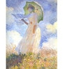 Tallenge Gallery Wrap Canvas 18 x 24 Inch Old Masters Collection Woman with Parasol Turned to The Left by Claude Monet Framed Digital Art Prints