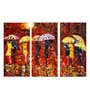Vinyl 36 x 0.5 x 24 Inch Painting Umbrellas Premium Quality Ready to Hang Framed Art Panels - Set of 3 by Tallenge