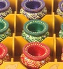 Multicolour Diya - Set of 9 by Tanariri Hastakala