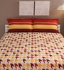 Tangerine Multicolour Cotton Queen Size Bed Sheet - Set of 3
