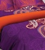 Tangerine Fete Gifting Purple Cotton Double Bed Sheet Set (with Pillow Covers)