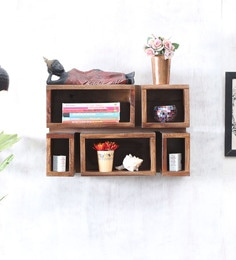 Solid Wood Wall Shelf (Set Of 5) In Teak Finish