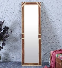 Teak Sheesham Wood & Brass Mirror With Stand