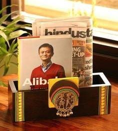 Teak Wood Wall Cum Table Magazine & Newspaper Stand With Dhokra Art