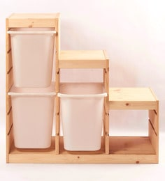Tezerac Maples Solid Wood Brown 3 Storage Boxes With Frame - Set Of 4
