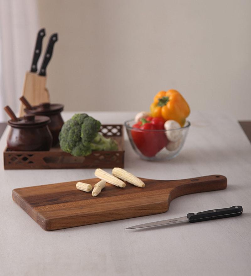 Teakore Teak Wood Herbs Chopping Board with 120 ML Wood Wax