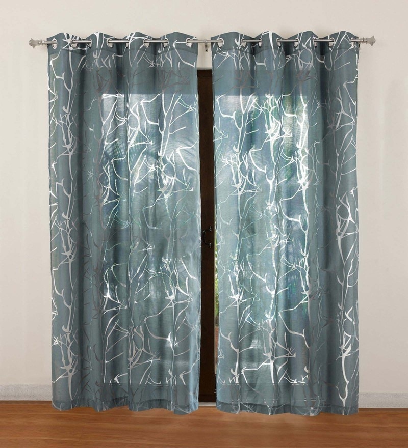 Teal Polycotton Wallace Sheer Door Curtain by Rosara