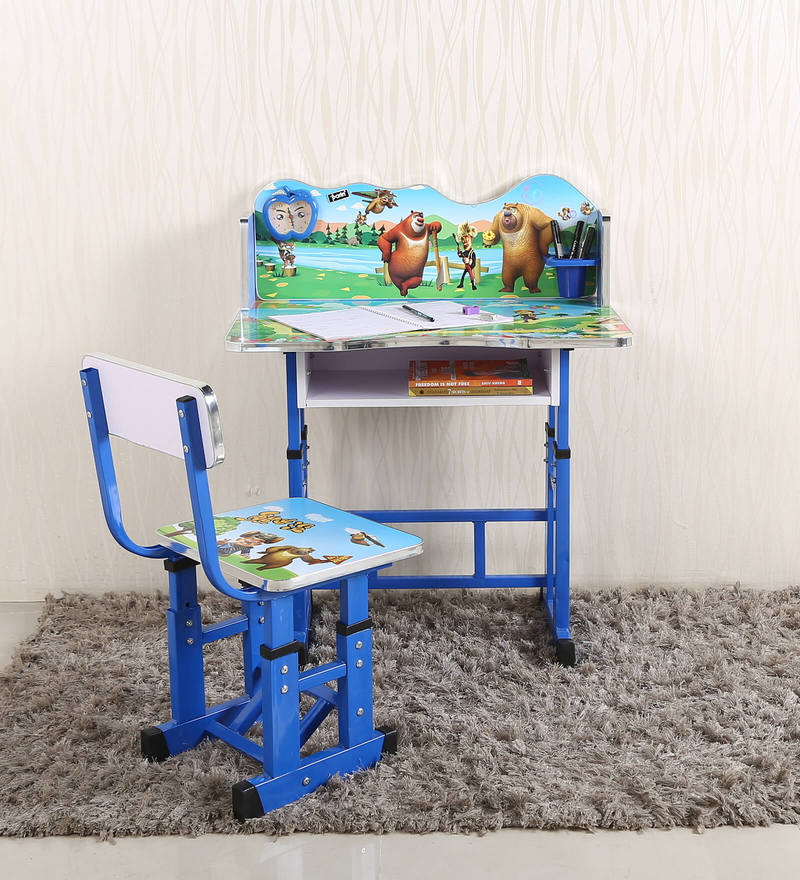 Kids Study Table & Chair Set In Blue Color By Parin