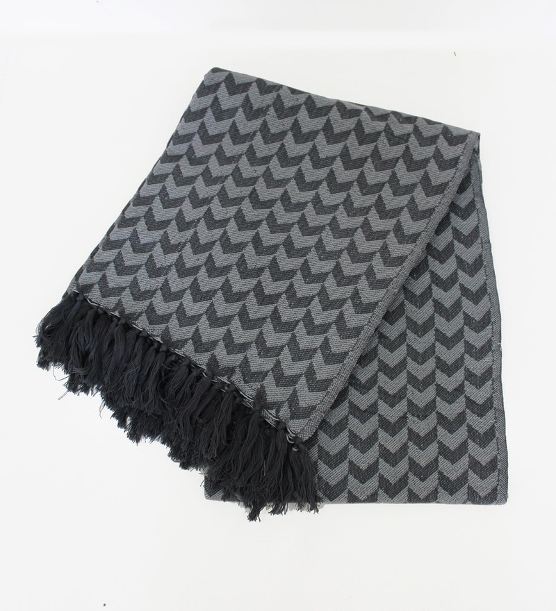 Grey Cotton Throw by Tezerac