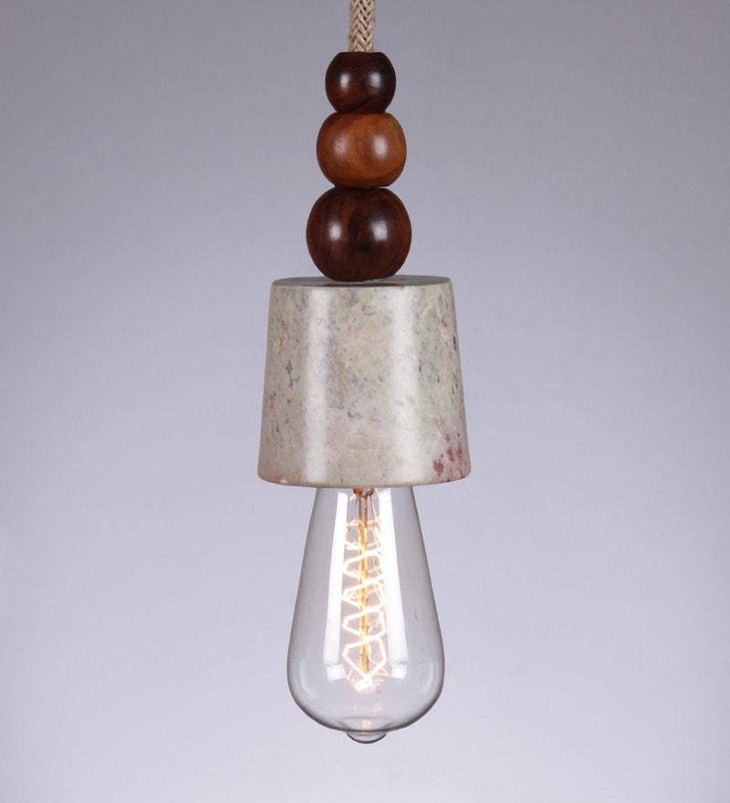 Light Brown Marble & Wood 25W Pendant Light by Tezerac