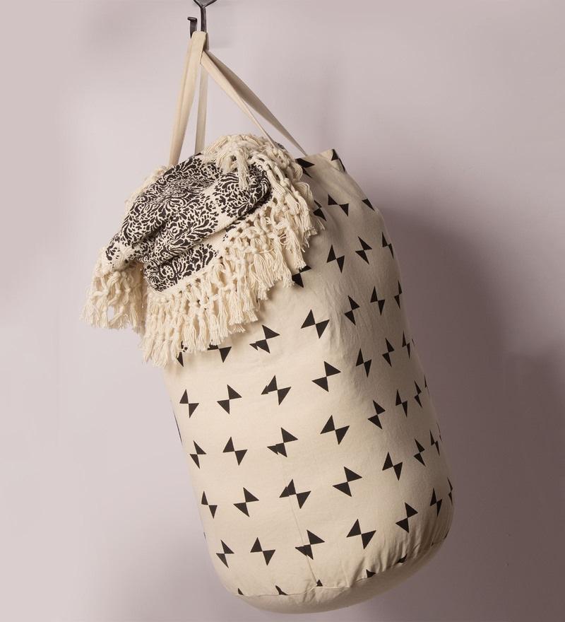 Tezerac Pleet Cotton 40 L Beige Laundary Bag