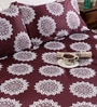 Tezerac Plum Cotton Abstract Patterns 98 x 88 Inch Bed Sheet (with Pillow Covers)