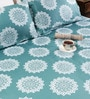 Tezerac Turquoise Cotton Abstract Patterns 98 x 88 Inch Bed Sheet (with Pillow Covers)