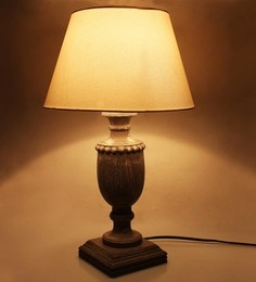 The Decor Mart White Cotton Grey Wood Table Lamp