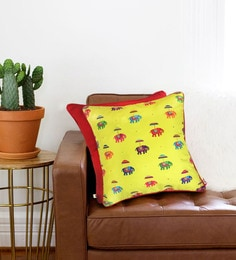 The Elephant Company Multicolour Cotton 16 X 16 Inch Lime Green Flying Elephants Cushion Cover