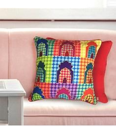 The Elephant Company Multicolour Cotton 16 X 16 Inch Mehrab Cushion Cover