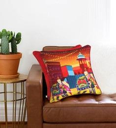 The Elephant Company Multicolour Cotton 16 X 16 Inch Royal Elephant Journey Cushion Cover