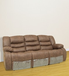 Three Seater Motorized Recliner with Collapsible Tray & Cupholder in Brown Colour by Star India at pepperfry