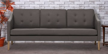 Three Seater Sofa With Tufted Cushions In Slate Grey Leatherette