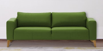 Three Seater Sofa With Wide Armrests In Green Leatherette
