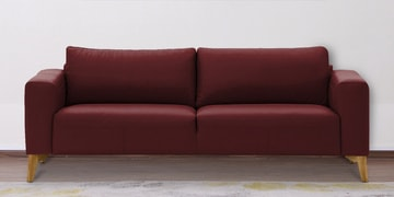 Three Seater Sofa With Wide Armrests In Maroon Leatherette