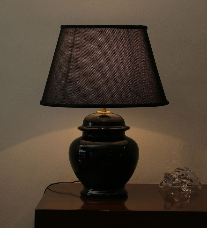 Modern Black High Gloss Ceramic & Parchment Table Lamp by The 7th Galaxy