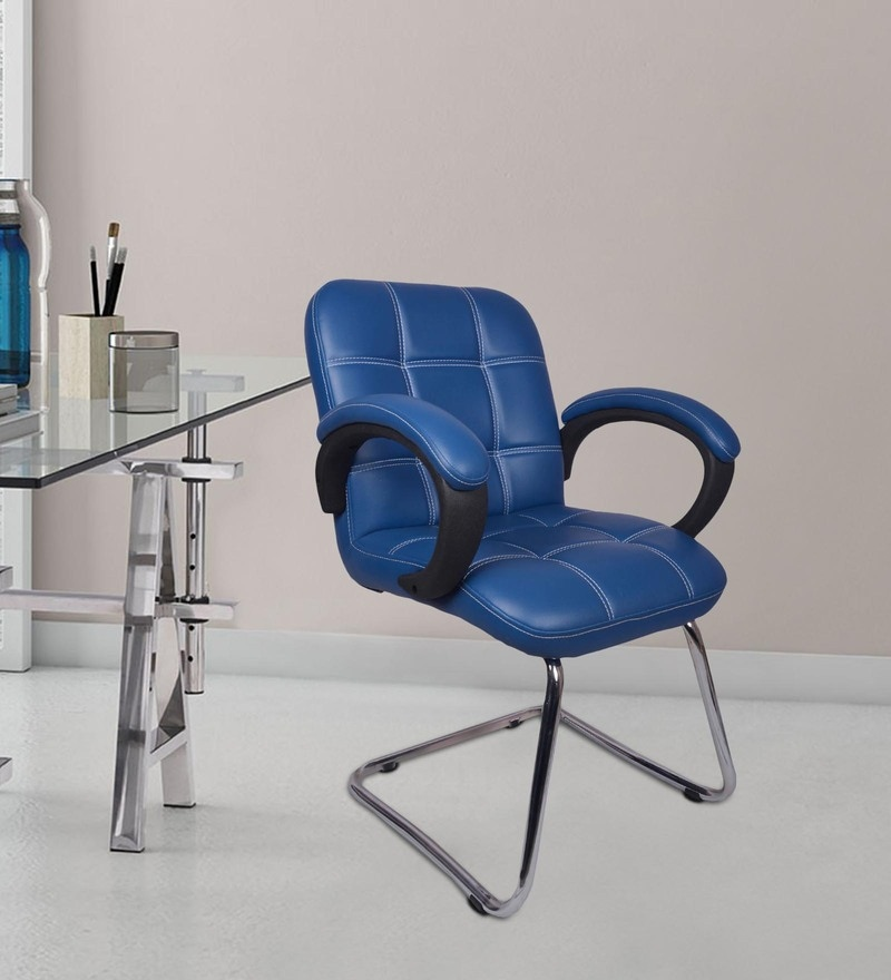 The Azul Low Back Visitor Chair In Blue in Blue Colour By VJ Interior