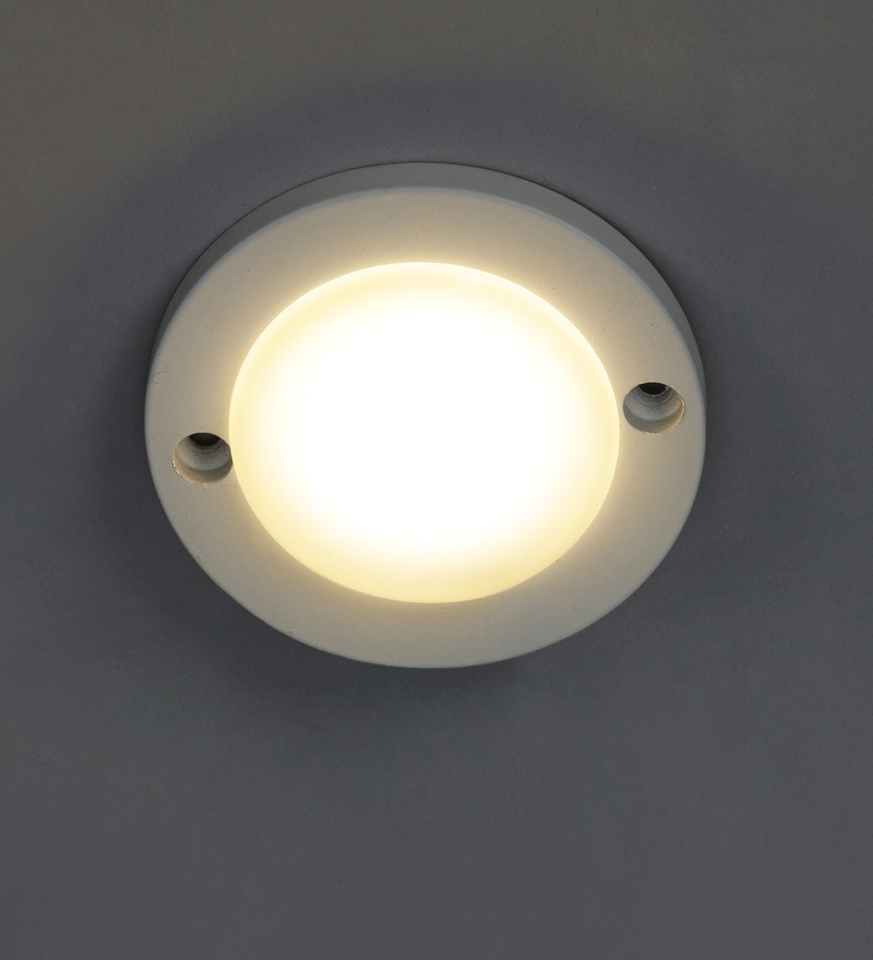 White Polycarbonate Flush Mounted Ceiling Light by The Brighter Side