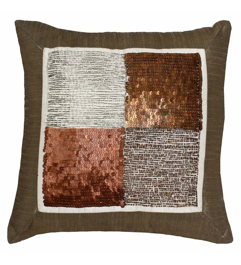 Brown Polyester 15.8 x 15.8 Inch Cushion Cover by The Decor Mart