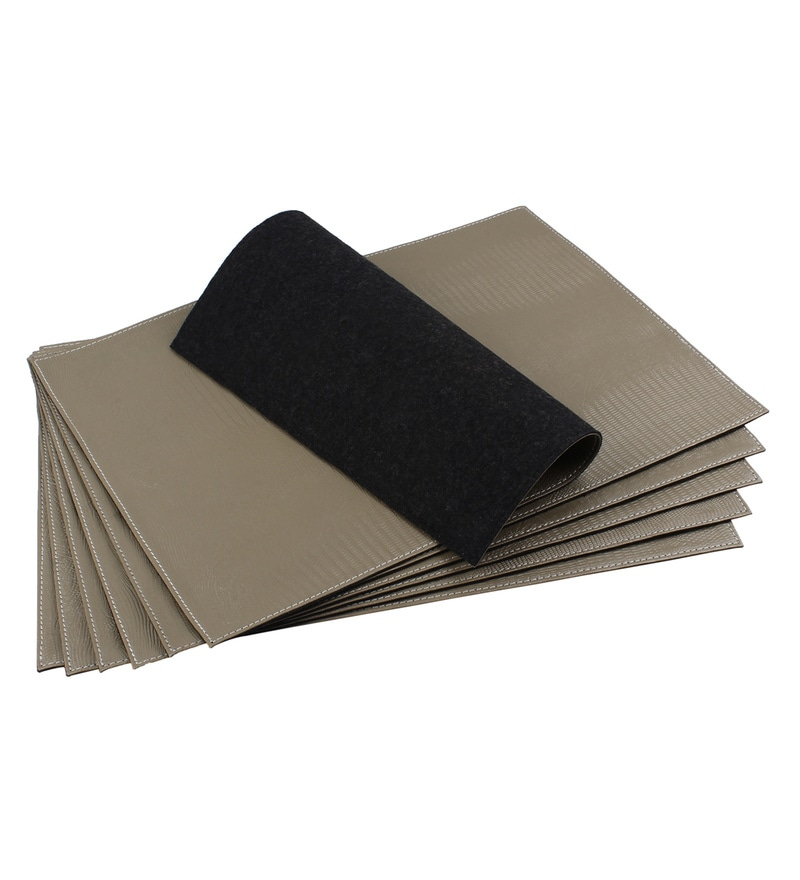 The Decor Mart Champagne Faux Leather Placemats - Set of 2