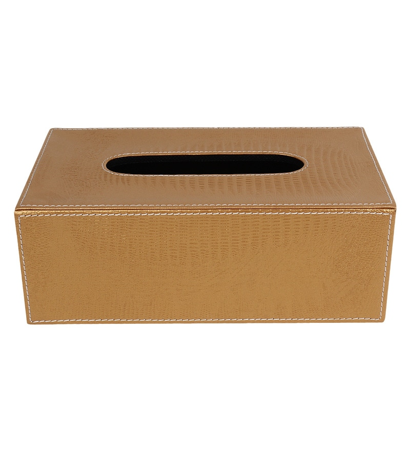The Decor Mart Gold Faux Leather Tissue Box
