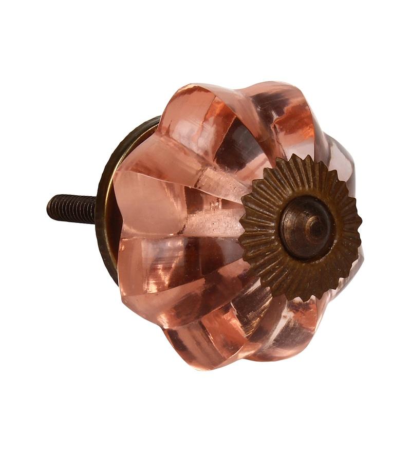 The Decor Mart Pink Glass 2.8 x 1.8 x 1.8 Inch Door Knobs - Set of 4 (Model No: Dmkn100)
