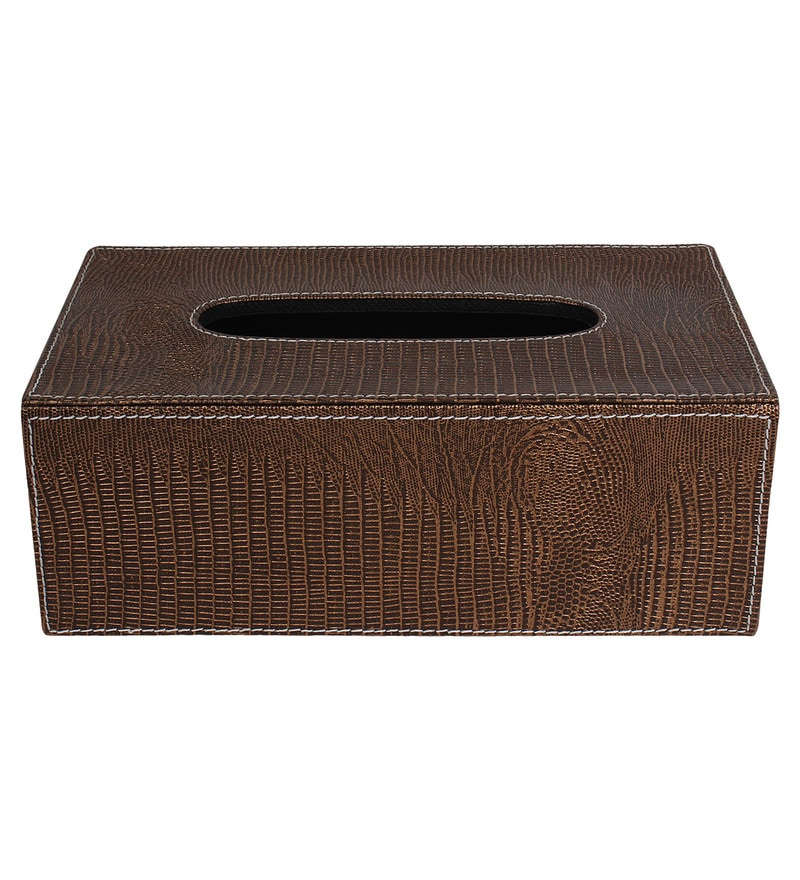 The Decor Mart Rust Faux Leather Tissue Box
