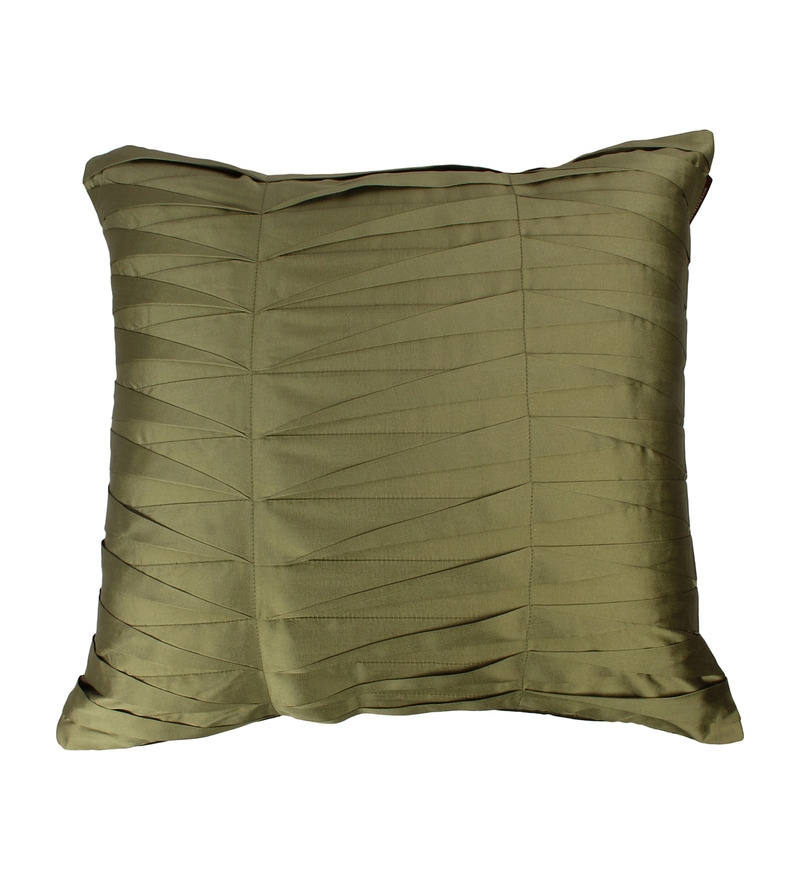 Sage Green Polyester 16 x 16 Inch Cushion Cover by The Decor Mart