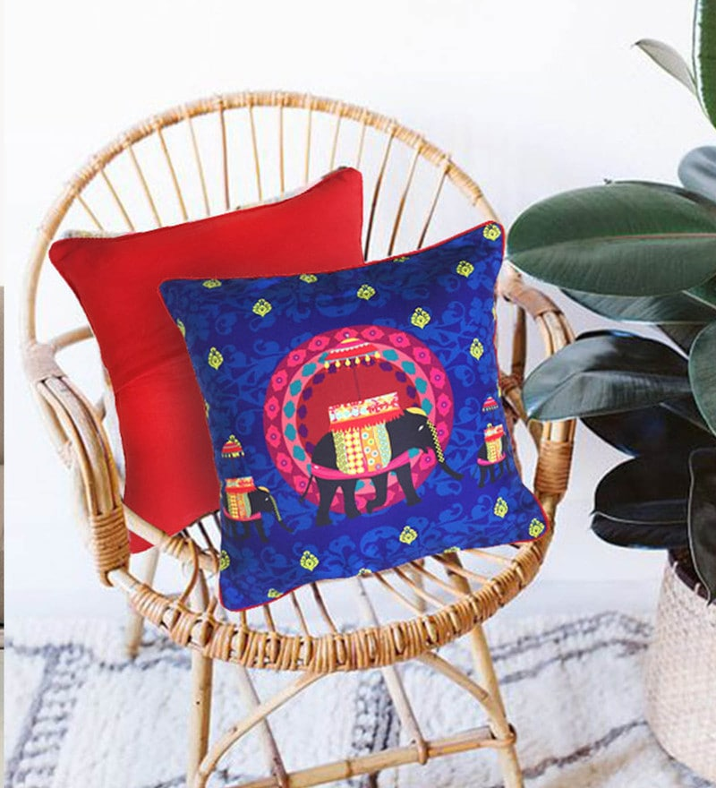 Multicolour Cotton 16 x 16 Inch Blue Elephant Butti Cushion Cover by The Elephant Company